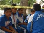 Niños chichimecas Jonaz con su maestro de Misión de Chichimecas, San Luis de la Paz Guanajauto durante  el XVIII Encuentro Nacional de Juegos Autoctónos y deportivos realizados en la Ciudad de San Luis Potosí, 18 de Julio 2015.